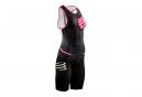 Combinaison Tri-Fonction Femme Compressport Triathlon TR3 Aero Noir Rose