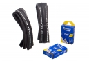 Pack Michelin Pro 4 Service Course 2 Road Tyre Folding + A1 2 Inner Tube 18-25mm / 52mm Valve