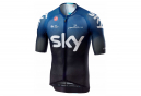 Maillot Manches Courtes Castelli Climber's 3.0 Team Sky 2019 Noir Bleu