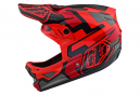 Troy Lee Designs D3 Fiberlite Speedcore Full Face Helmet Red Black Glossy