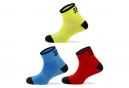 Spiuk Anatomic Kids Low Socks (3 Pairs Pack) Blue Red Neon Yellow